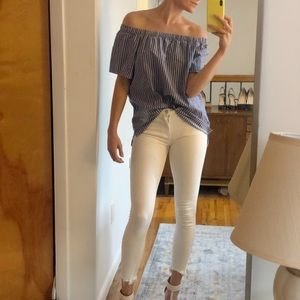 Banana Republic Striped Off the Shoulder Blouse